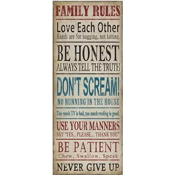 Tin Sign Family Rules