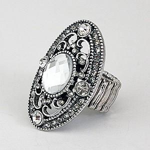 Ring Silver Crystal & Rhinestones