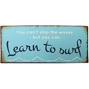 Tin Sign Learn to surf