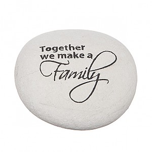 Stone with text Family
