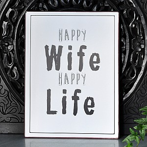 Tin Sign Happy Wife Happy Life - White