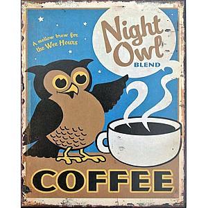 Plåtskylt Kaffeuggla