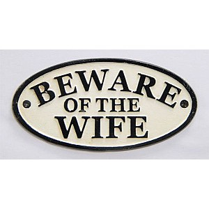 Skylt Beware of the wife
