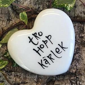 Porslinshjärta Tro Hopp Kärlek