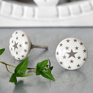 Porcelain Knob Stars - Grey