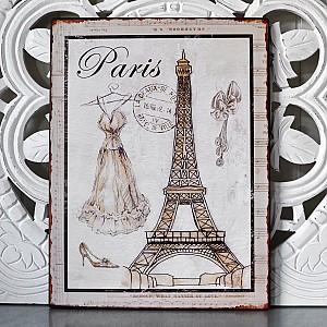 Tin Sign Paris with la tour eiffel