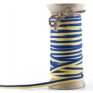 Striped Ribbon Blue / Yellow -  7 mm