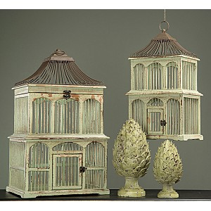 Bird Cage in wood Green - Small