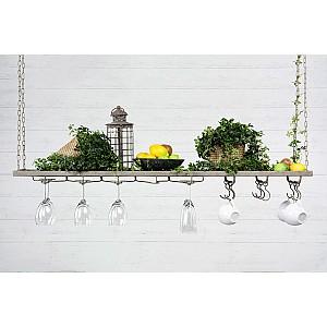 Hanging Shelf with hooks - Antique Grey