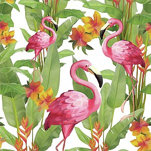 Servetter Flamingos White