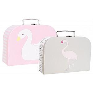 JaBaDaBaDo Cardboard Bag Swan & Flamingo - set of 2