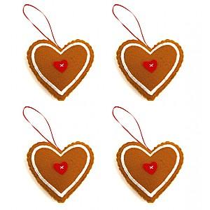 Gingerbread Hearts 4 pcs