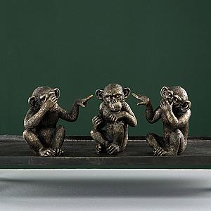 Monkey No See No Hear No Speak - Gold Brown