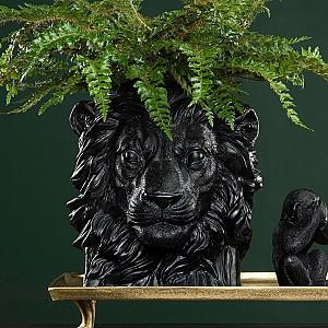 Flower Pot Lion - Black / Brown