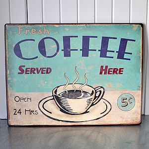 Plåtskylt Fresh Coffee