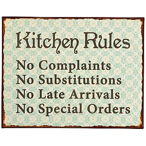 Plåtskylt Kitchen Rules