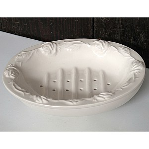 Soap Dish Roses White