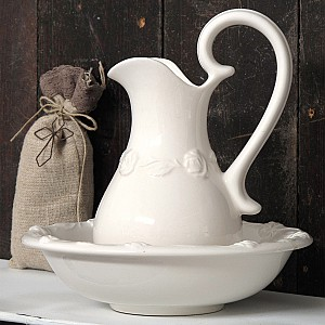 Wash Set / Wash Jug and Bowl - Roses - Small
