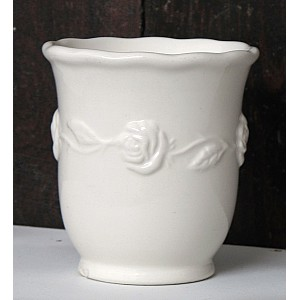 Toothbrush Mug Roses White