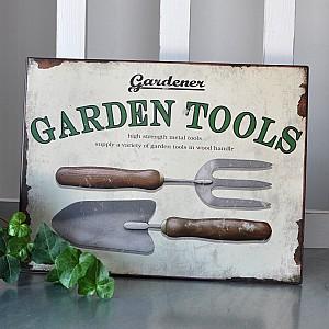 Tin Sign Garden Tools
