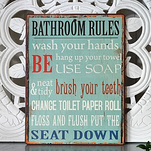 Plåtskylt Bathroom rules