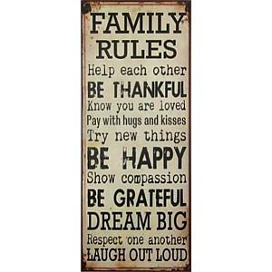 Plåtskylt FAMILY RULES